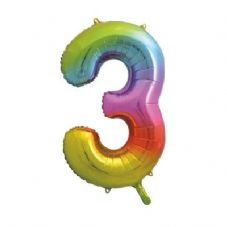 Number 3 Ombre Super Shape Number Foil Balloon